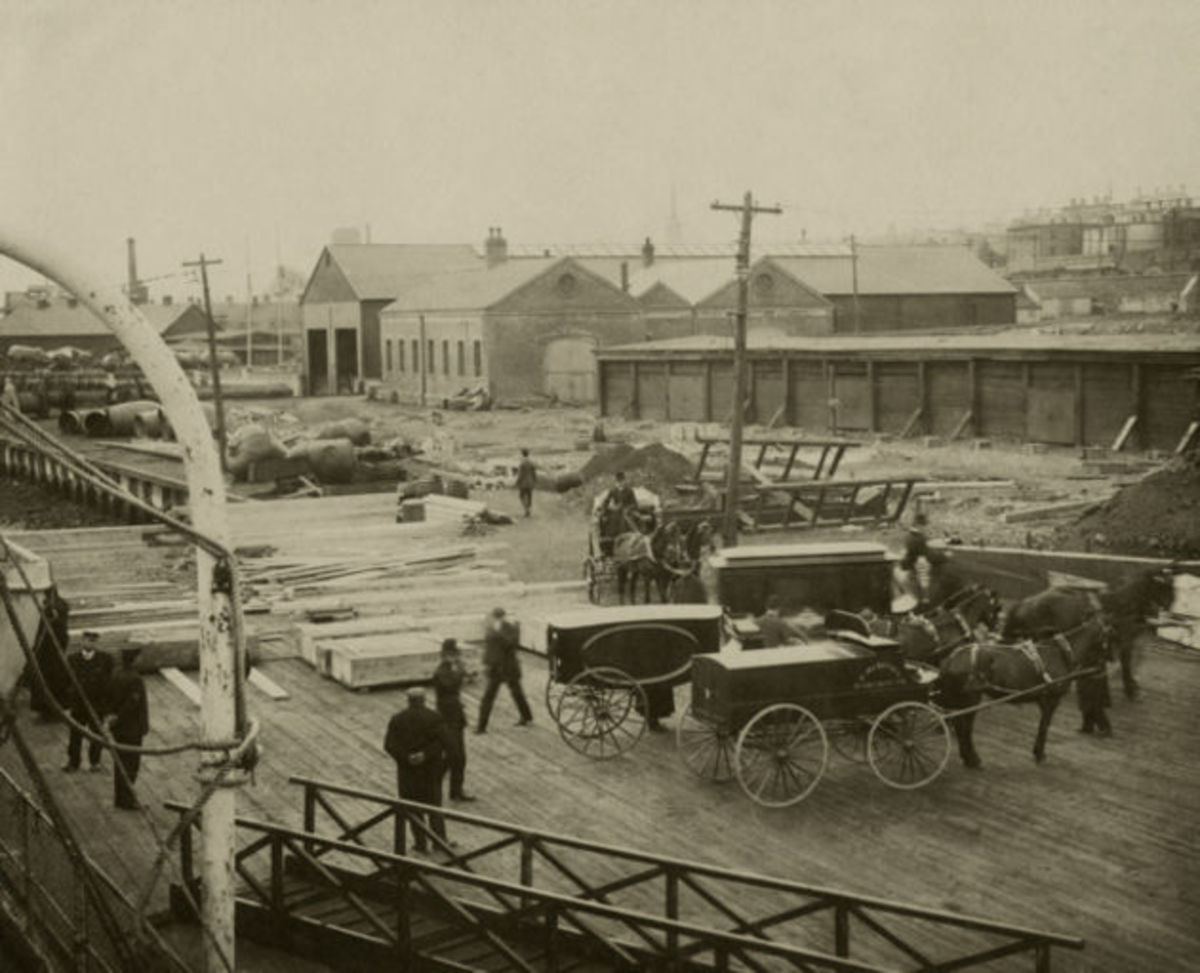 Unloading bodies and coffins at Halifax
