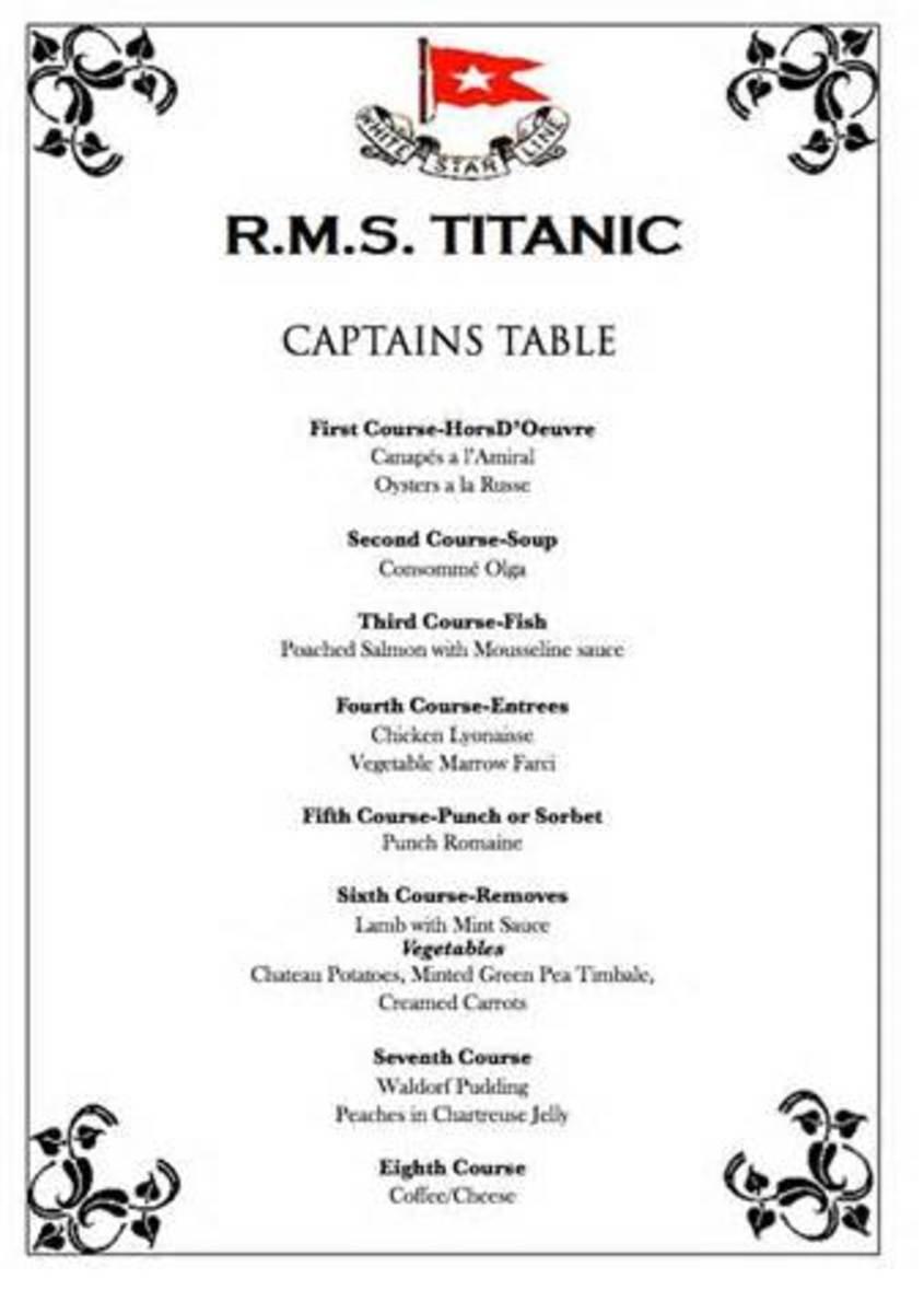 First class menu