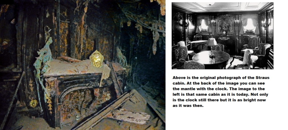 Straus suite showing mantle clock as bright as the day Titanic sank