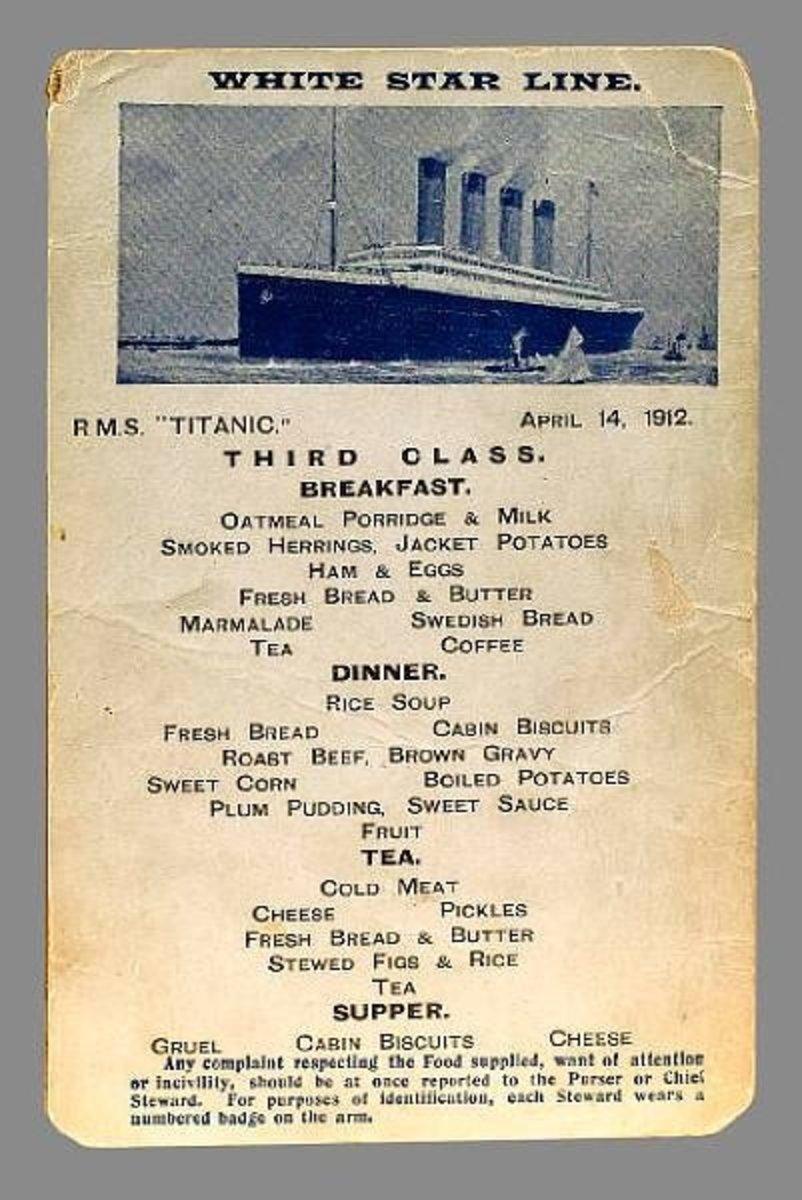 Third class menu