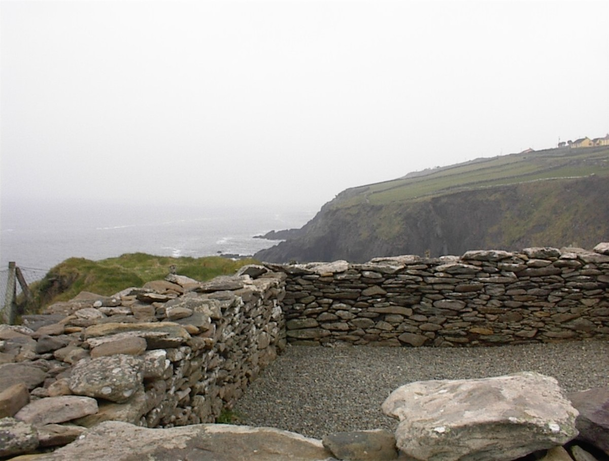 Ruins of a stone hill-fort that the Celtic Gaels built for defense.