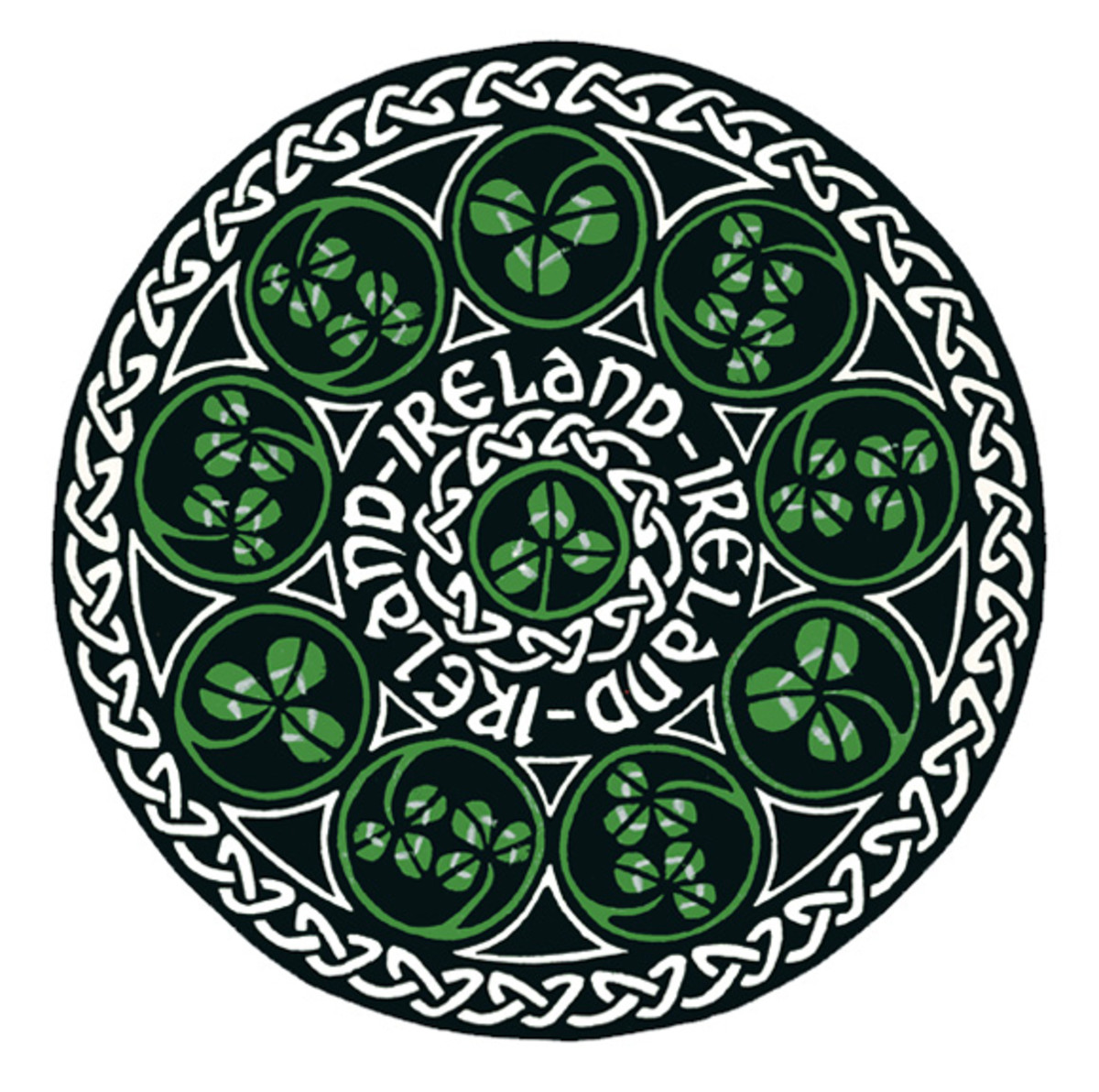 Celtic knot work circle based on the three leaf clover, the national symbol of Ireland.