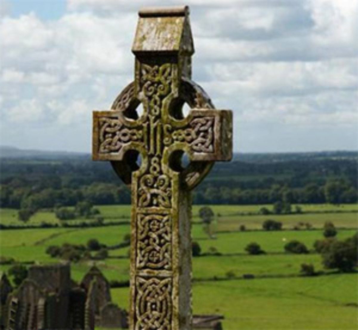 Celtic stone cross in Ireland from the days of Christianity.