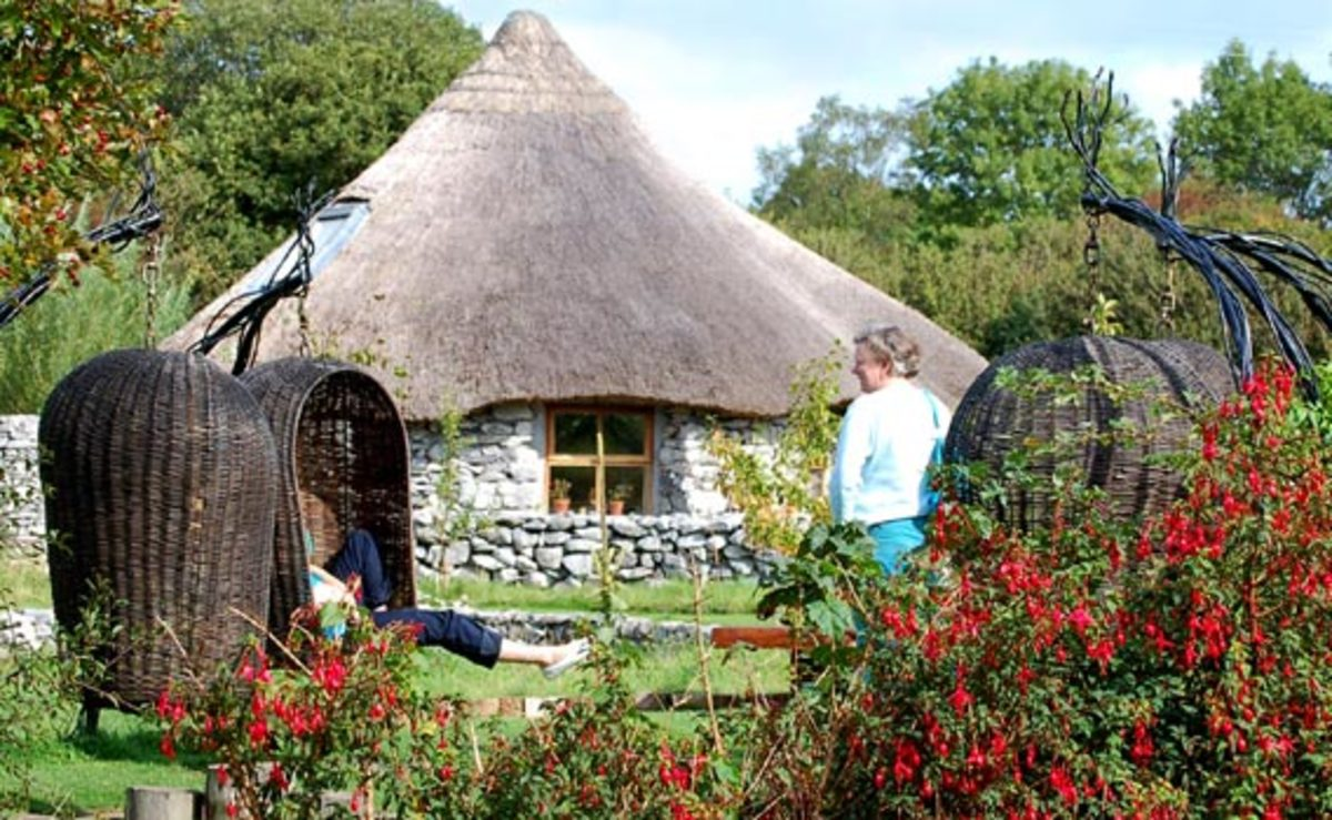 Brigit's Garden in Galway, Ireland.  Reconstructed stone Celtic roundhouse.  Represent one of the Celtic festivals of Samhain ( the end of summer)
