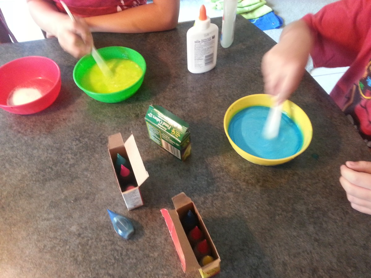 Start the slime making process by combining glue and water.
