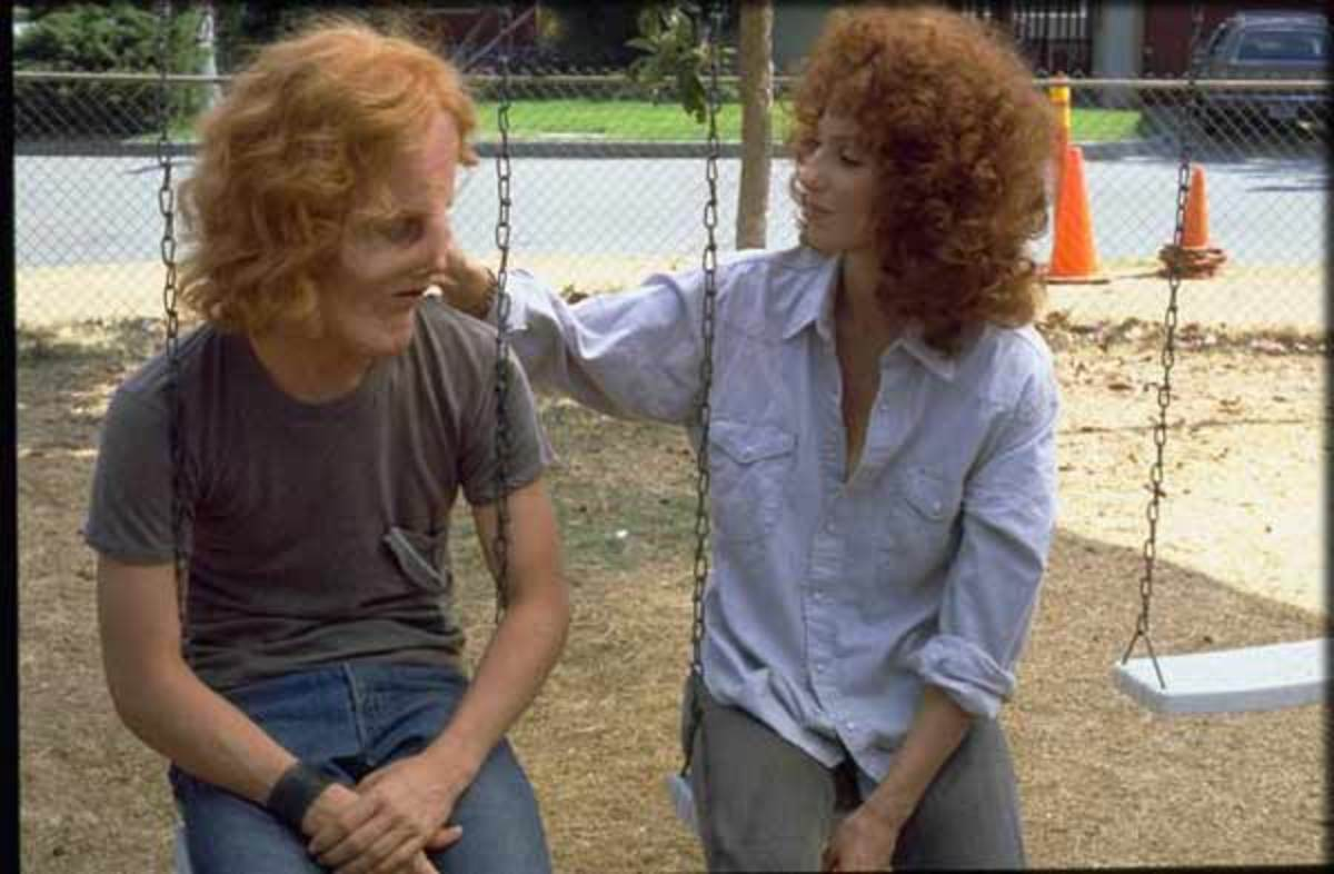 Rocky (Eric Stoltz) and Rusty (Cher) warm up to each other.