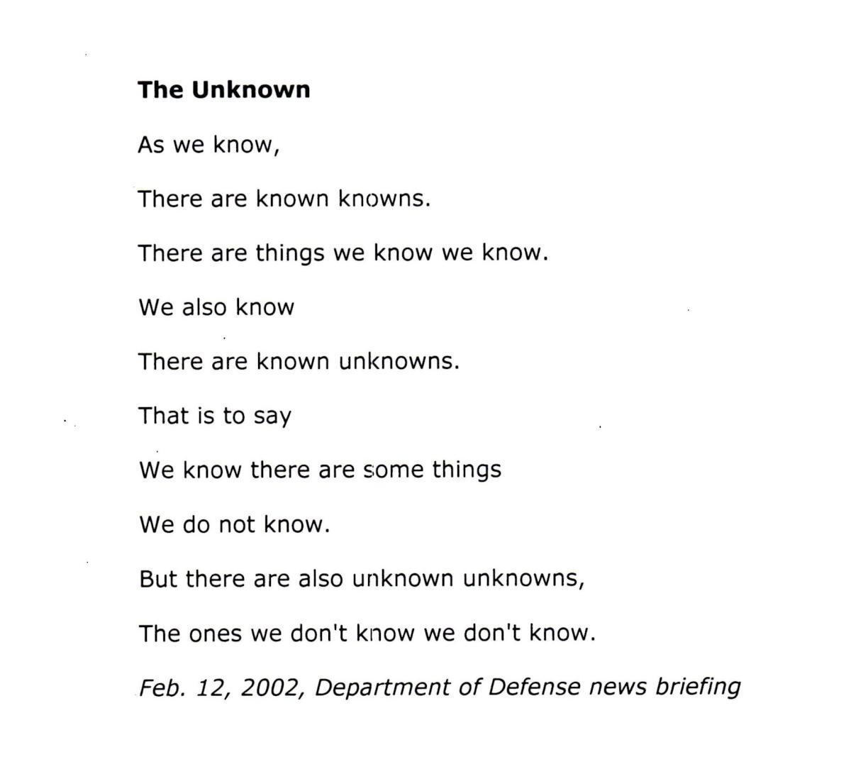 An exam0ple of found poetry taken from Donald Rumsfeld's speeches.