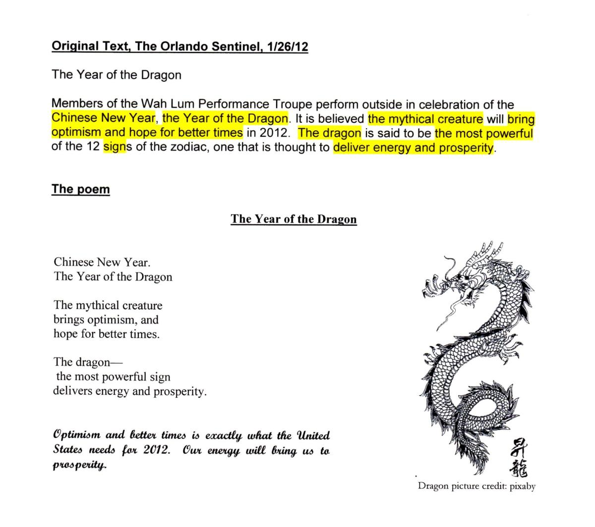 A news print poem about a Chinese dragon.