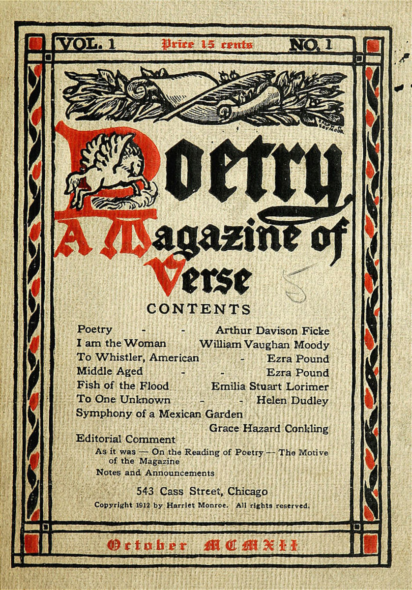 Go to my News Print Poetry 2012 blog to see how I turned this poetry magazine cover from 1912 into a found poem