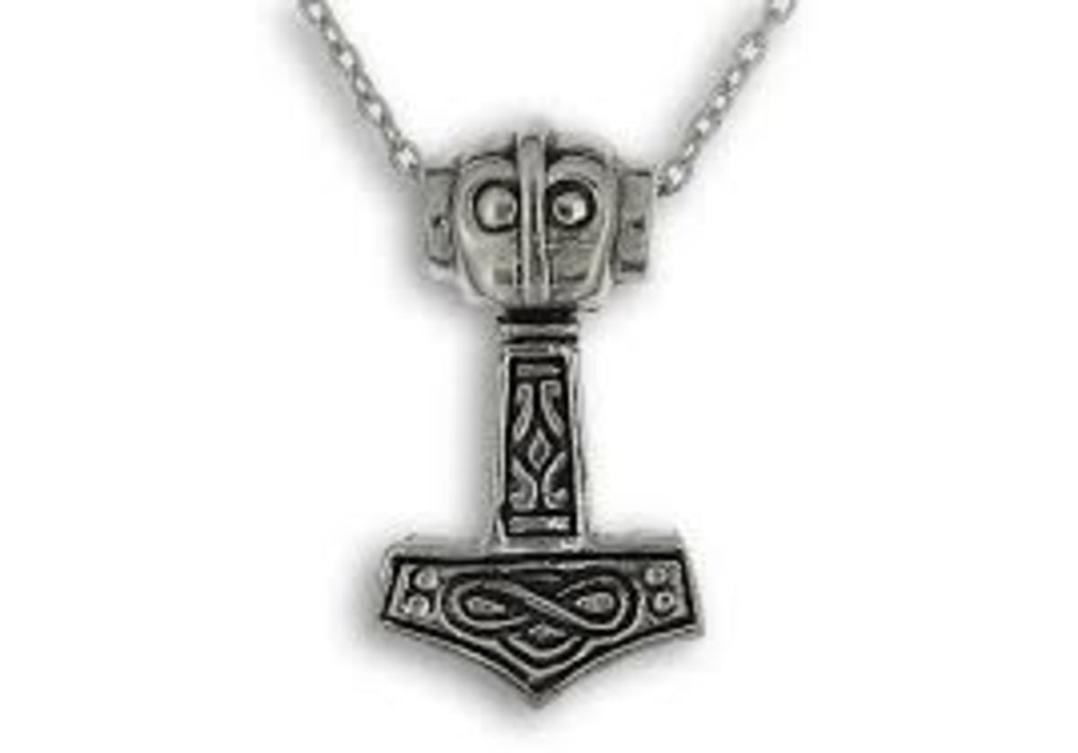 A pendant showing a modern day representation of Mjolnir.