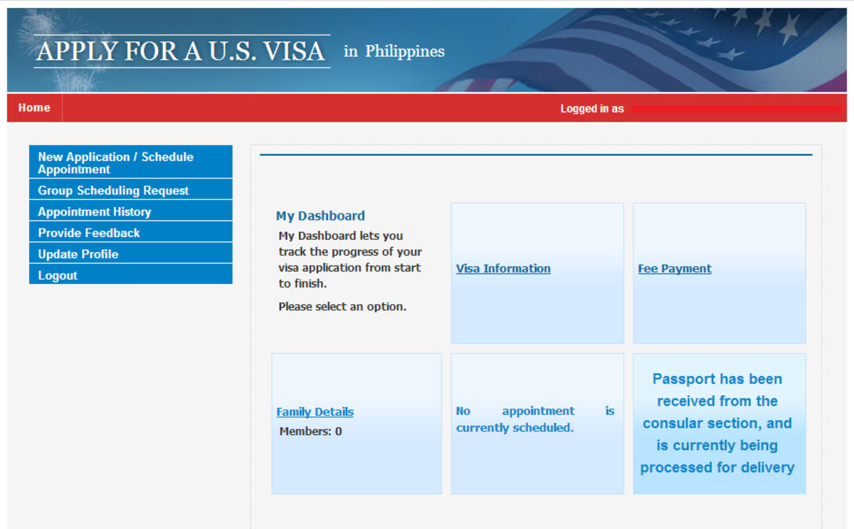 This is the visa scheduling dashboard. As you can see, my passport and visa are currently being processed. ;)