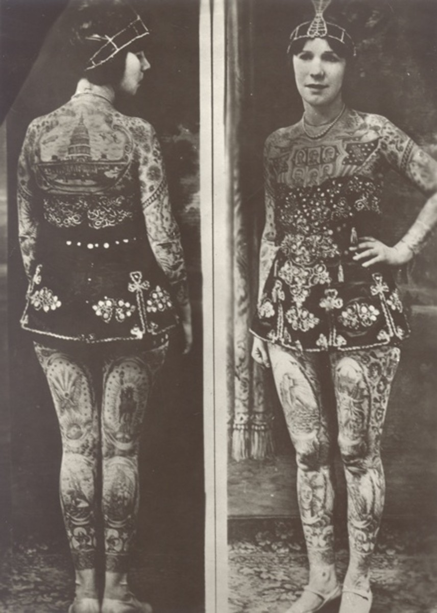 "Lady Viola (originally born as Ethel Martin) Covington, Kentucky, 1898; tattooed by Frank Graf (Coney Island) in the 1920s. She became a tattoo attraction, billed as ""the most beautiful tattooed woman in the world""; she wasn't only a circus tattooed"
