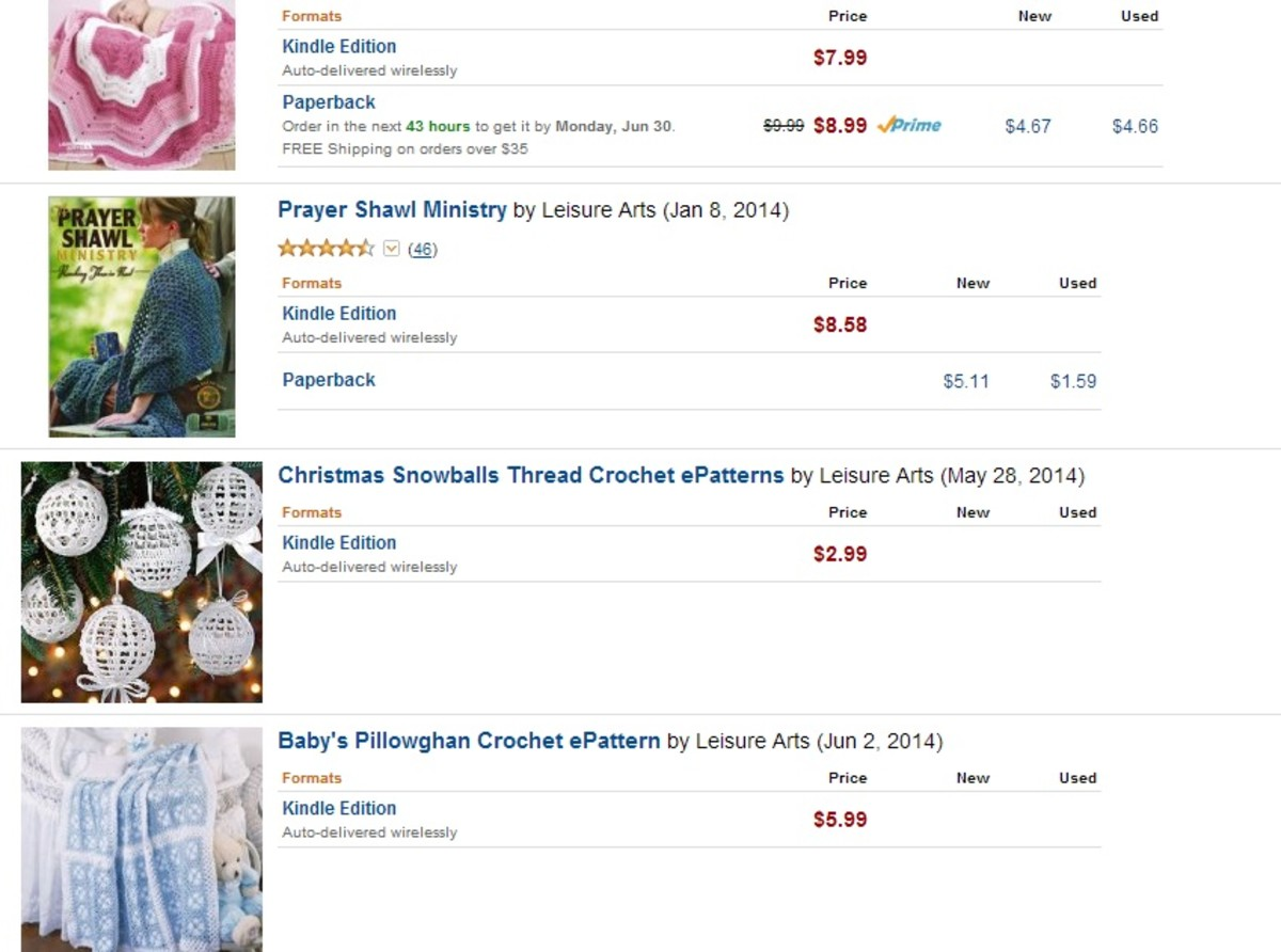 Out of print books and patterns can be downloaded on Amazon