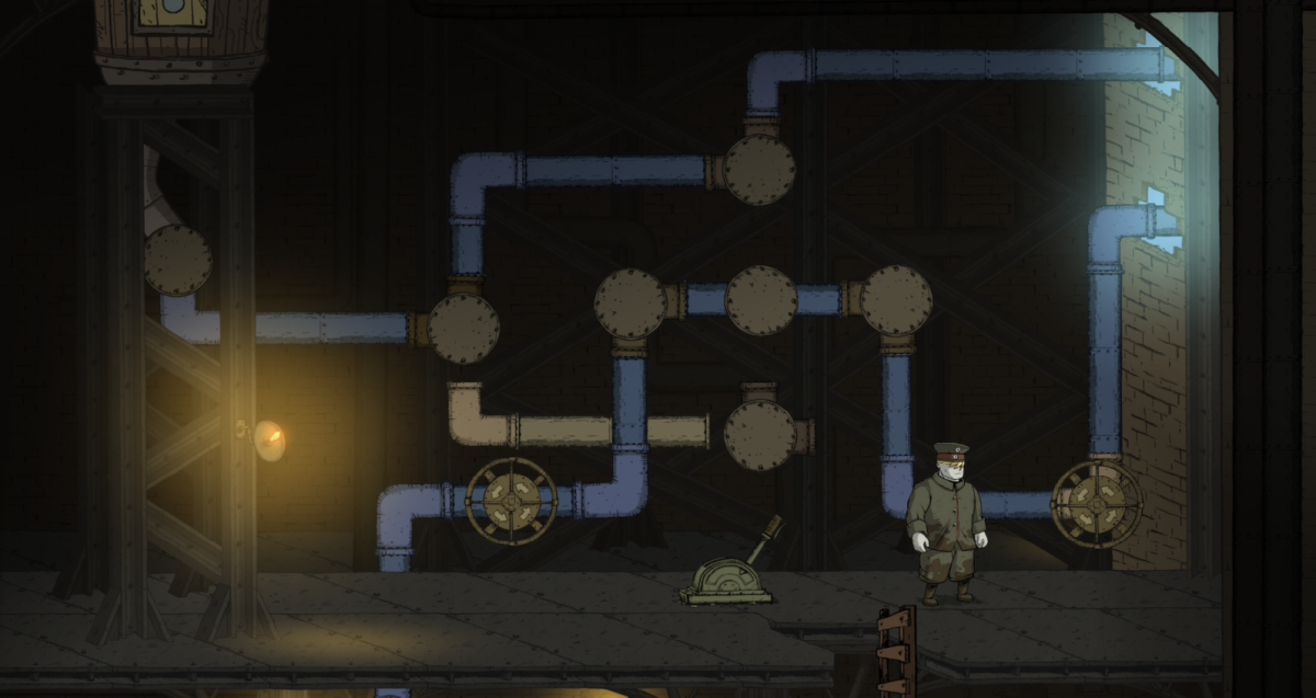 Karl works on a water puzzle in the Prison Camp of Valiant Hearts.