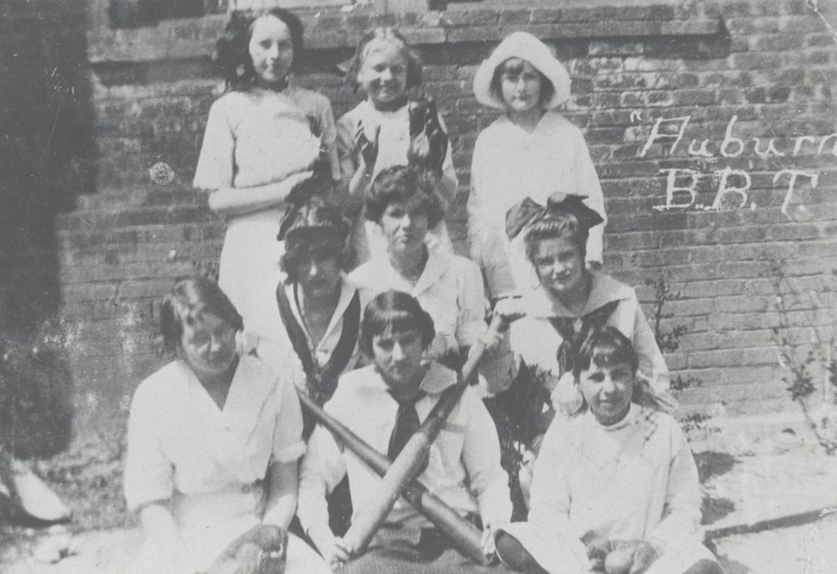Auburn, Georgia High School Tigers women's baseball team in 1914, during WWI.