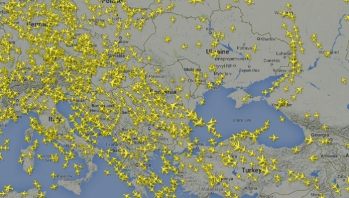 The L980 Airway over Ukraine is one of the world's most crowded and important in Eurasia - This is the airway used by MH17 before being shot down over Donetsk.