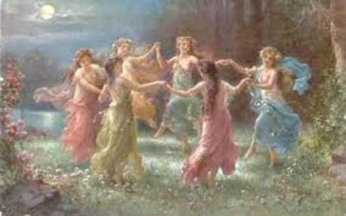 Faeries dancing under the moonlight.