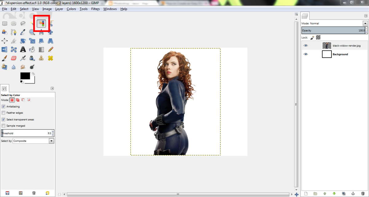 Select by Color. Open the cutout as a layer in a new document.