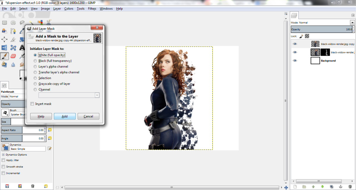 Brush the layer mask to achieve the dispersion effect.