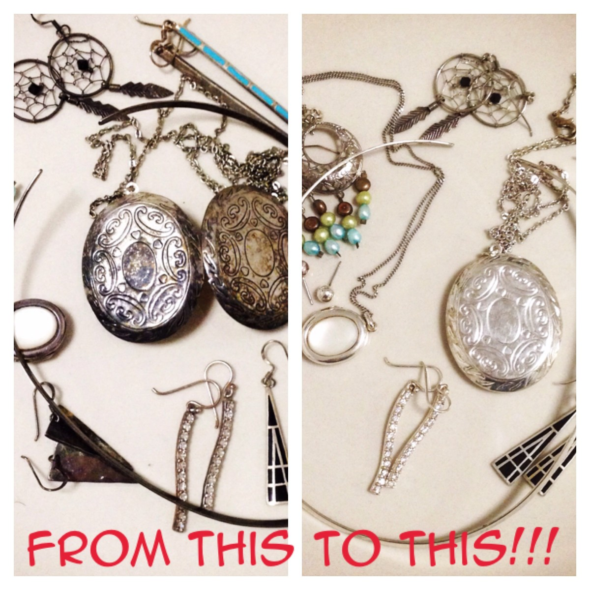 How to easily clean tarnished silver jewelry with pantry items!