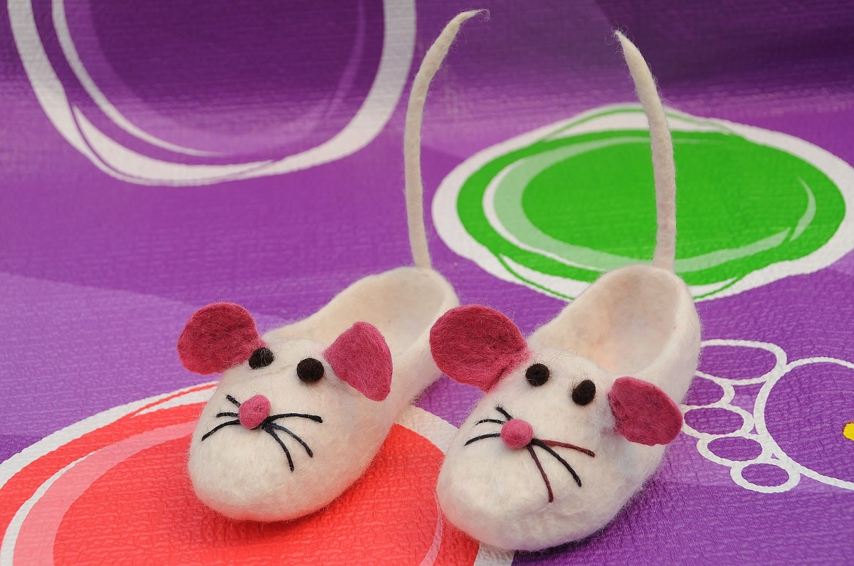 Completed wet felted mice slippers