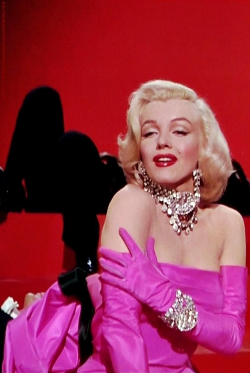 "Marilyn Monroe as Lorelei Lee performing 'Diamonds Are a Girl's Best Friend' in 20th Century Fox's 1953 film ""Gentlemen Prefer Blondes""."