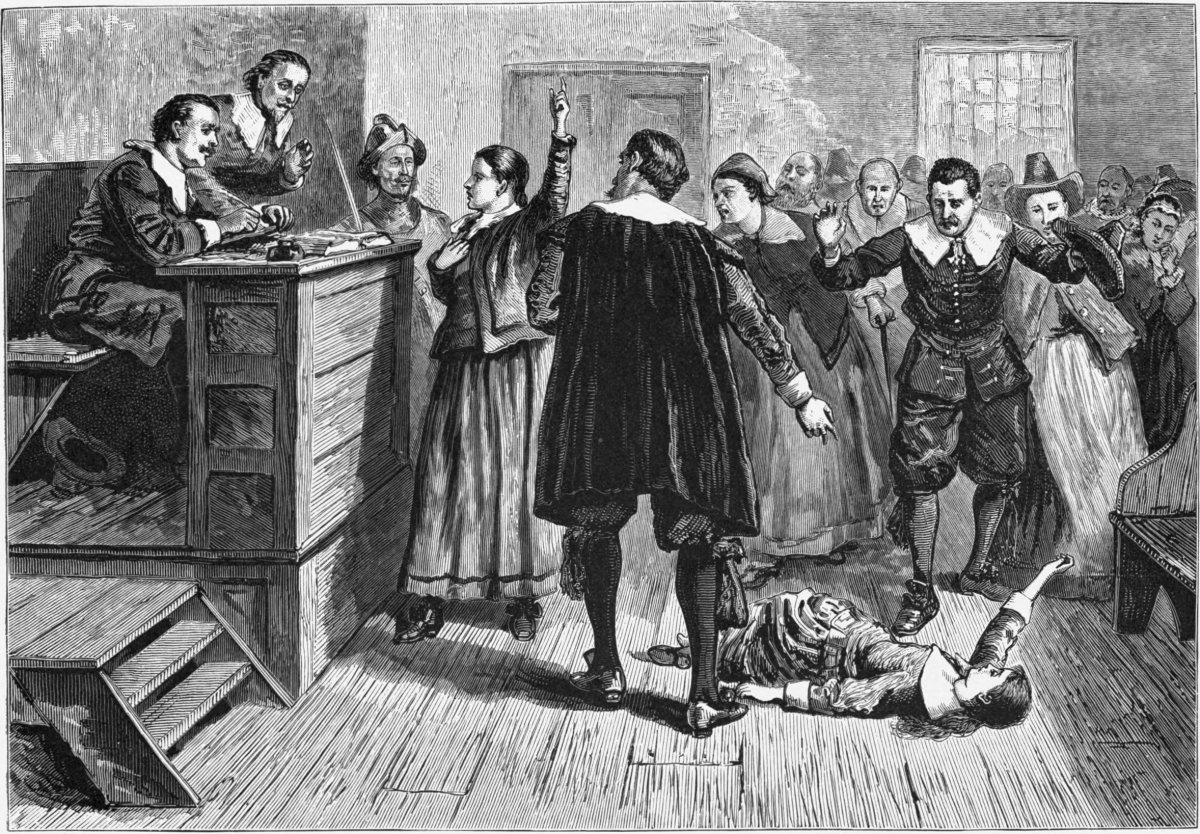 The central figure in this 1876 illustration of the courtroom is usually identified as Mary Walcott. Witchcraft at Salem Village. Engraving. The central figure in this 1876 illustration of the courtroom is usually identified as Mary Walcott. Boston: