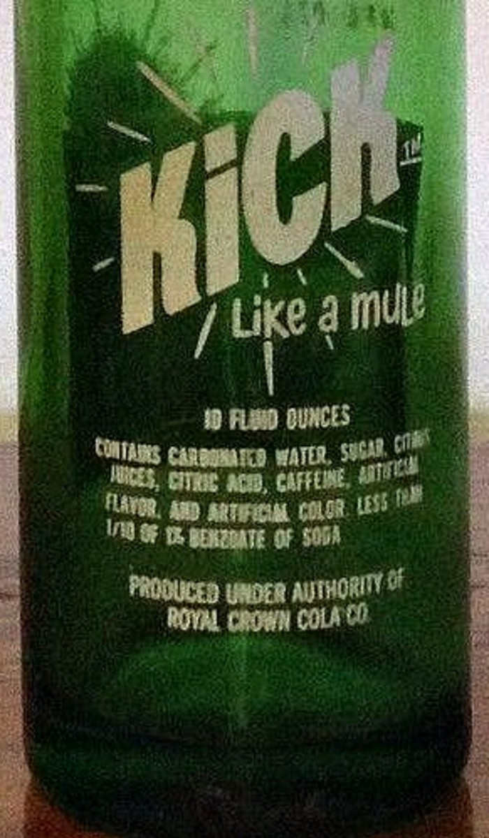 Kick like a Mule contains carbonated water, sugar, citric juices, citric acid, caffeine, artificial flavor and artificial color, less that 1 /10 of 1% of Benzoate of Soda.