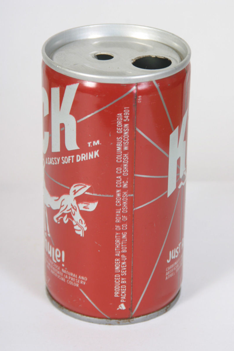 """Kick """"A Sassy Soft Drink"""" Kick Like a Mule! Was produced under authority of Royal Crown Cola Co. Columbus, Georgia, and packed by Seven-UP Bottling Co of Oshkosh, Inc. Oshkosh, Wisconsin, 54901."""