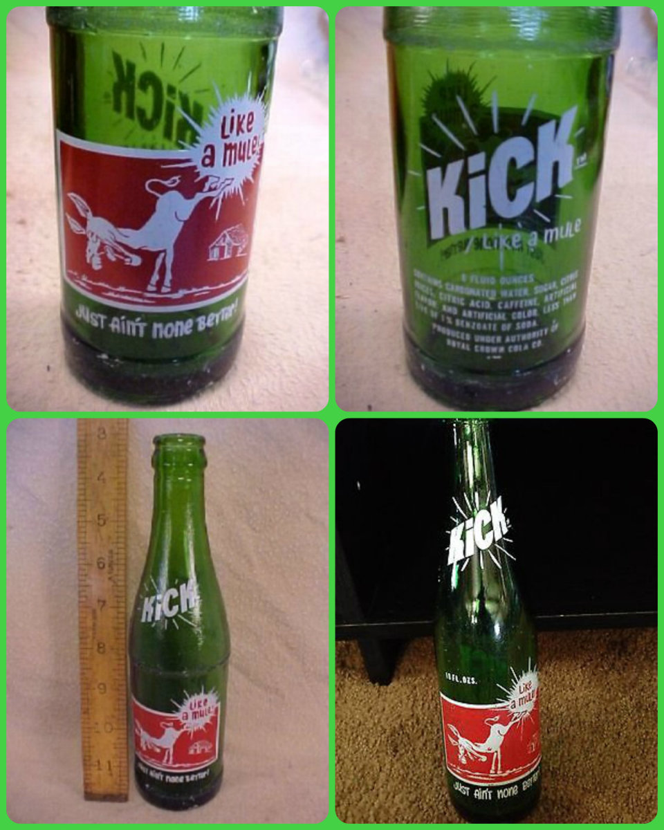"Vintage 10 ounce 1960s ""Kick Like a Mule - Just Ain't None Better"" soda bottle made by the Royal Crown Cola Company out of Nashville, Tennessee.The name"" Kick Like a Mule"" lasted from the 1960s to the 1970s when the name was changed to just ""Kick""."