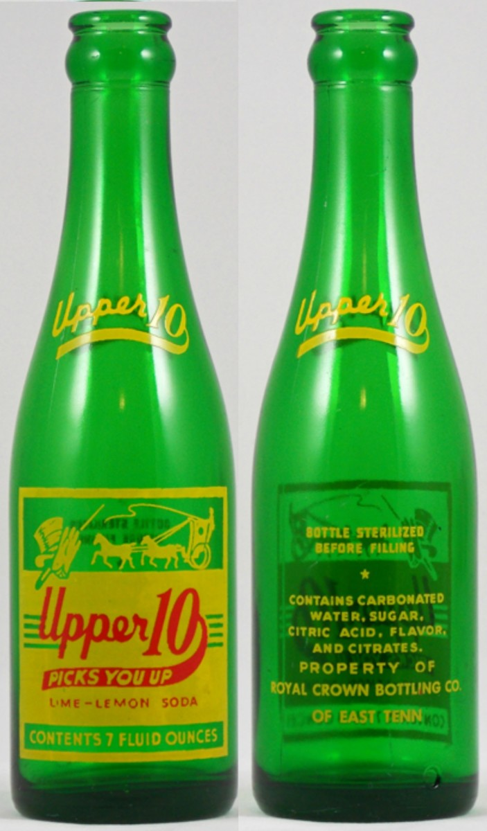 "The Seven ounce  Upper 10 bottle made by the  Royal Crown Bottling Company of East Tennessee and was made in 1953. It was like ""Kick"" a lemon lime soft drink."
