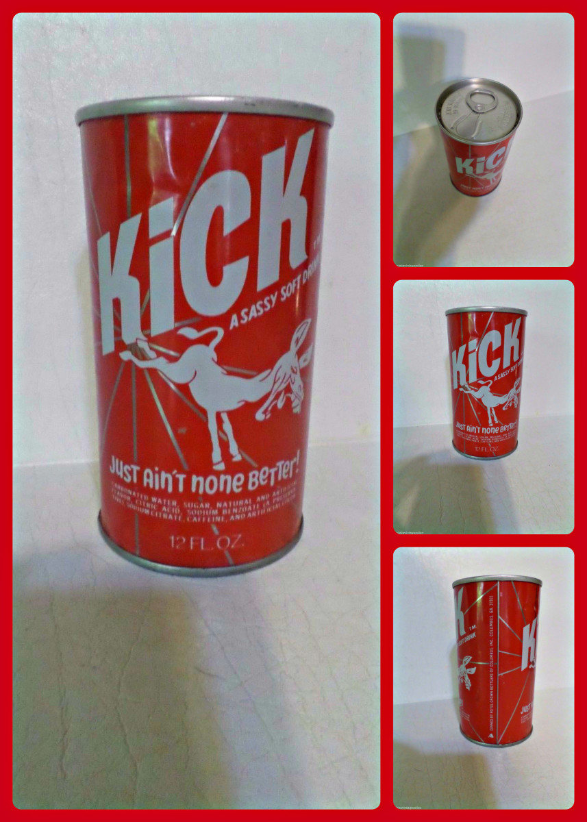 Here is a unopened vintage Kick like a Mule, the sassy soft Drink in a straight steel soda pop can all ready for your Fallout shelter :)