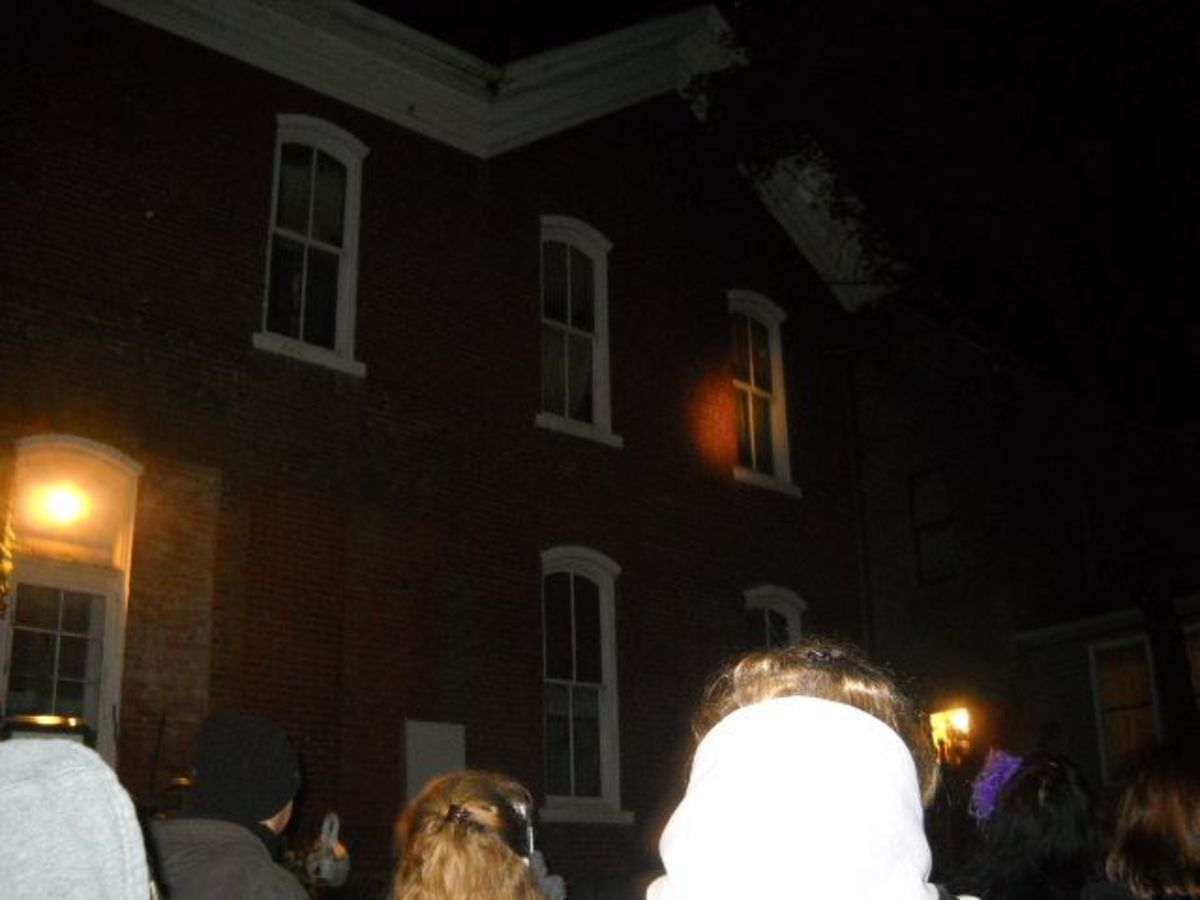 The evil spirit house. There's an orb hiding in the top right hand corner. The light on the house was made by our tour guide's flashlight trying to spark some activity.