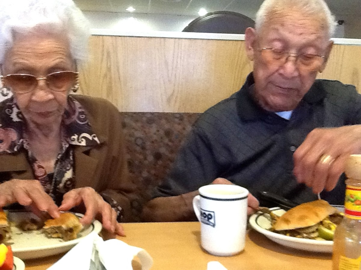 Granny and Grandpa having a nice dinner using their gaming earnings.
