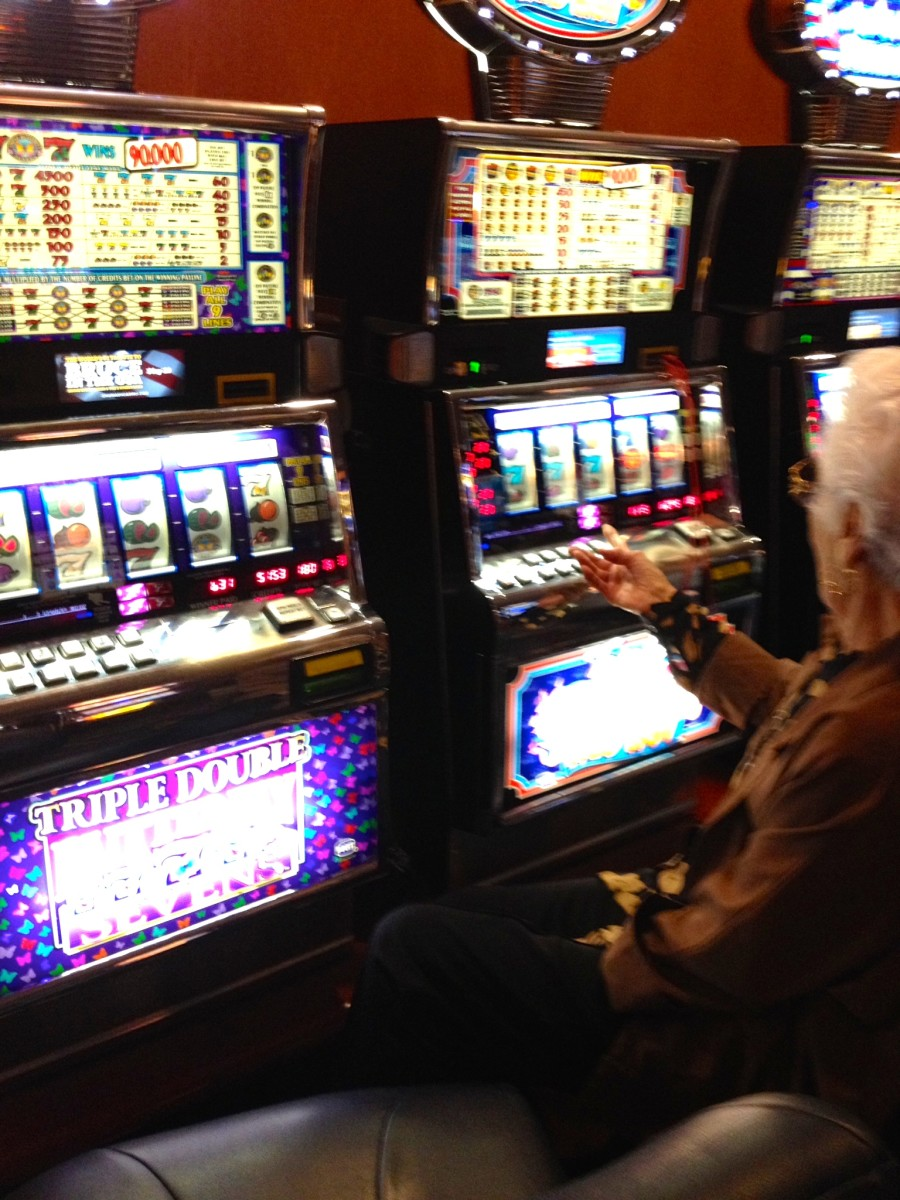 Granny's machine rolling up in winnings.