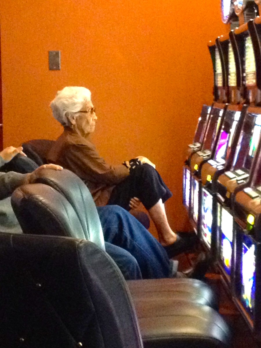 Granny and her slot machine.