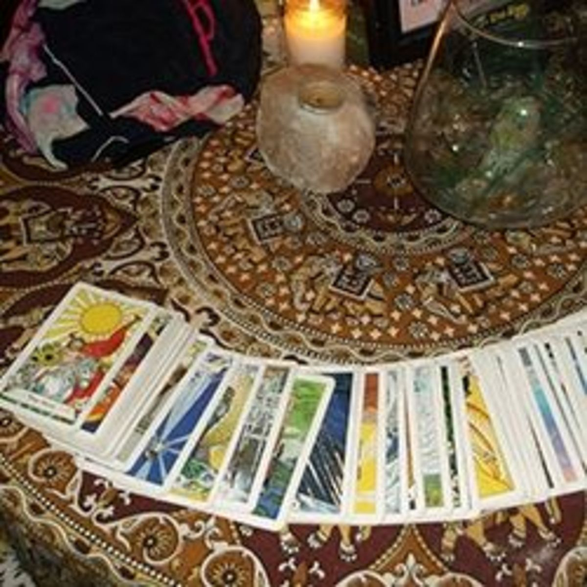 My tarot deck and table at Cafe Tu Tu Tango, Orlando