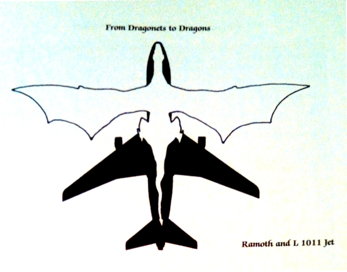 This illustration (from my favorite nerd book) shows gold Ramoth as large as a jet plane!