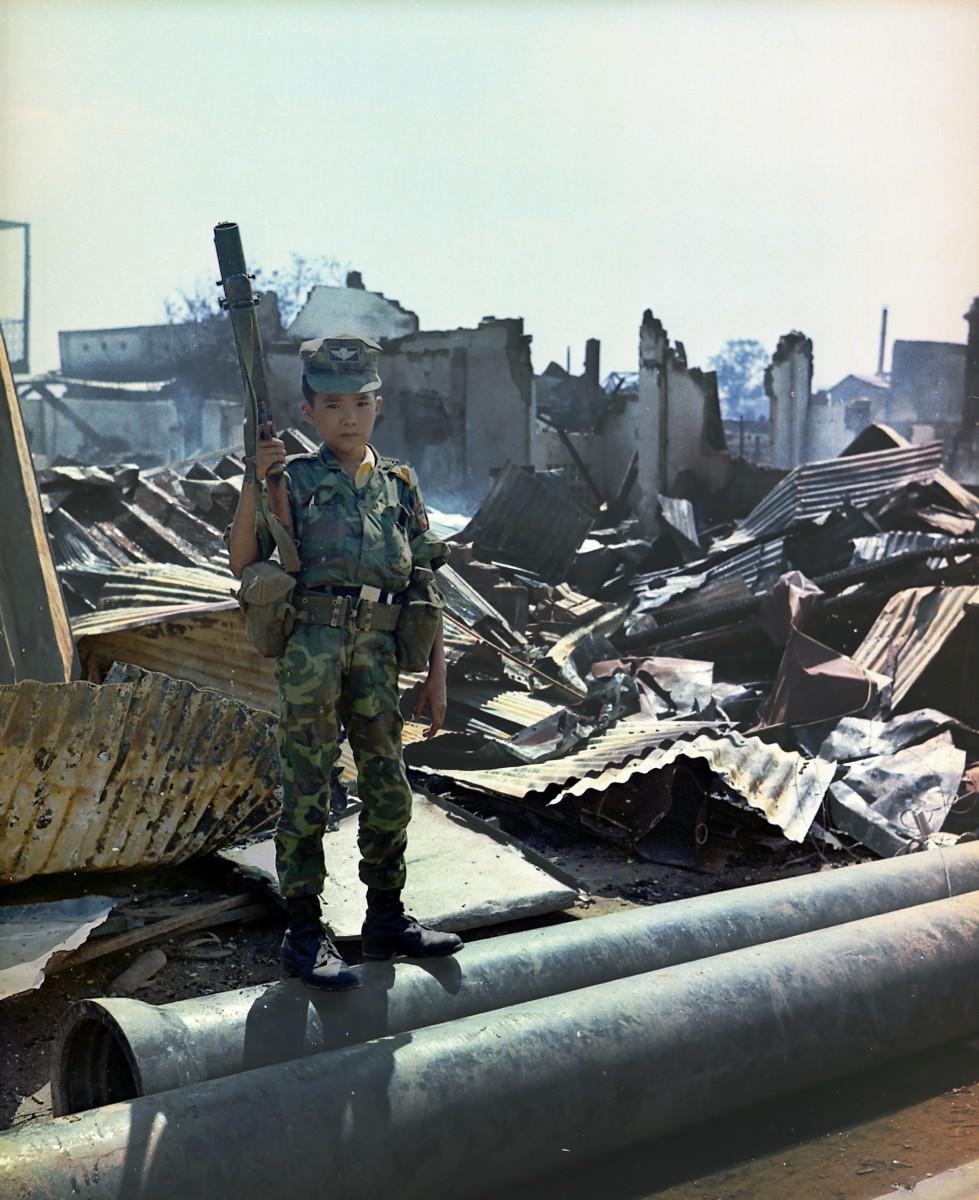Child soldier on the battlefield in Vietnam
