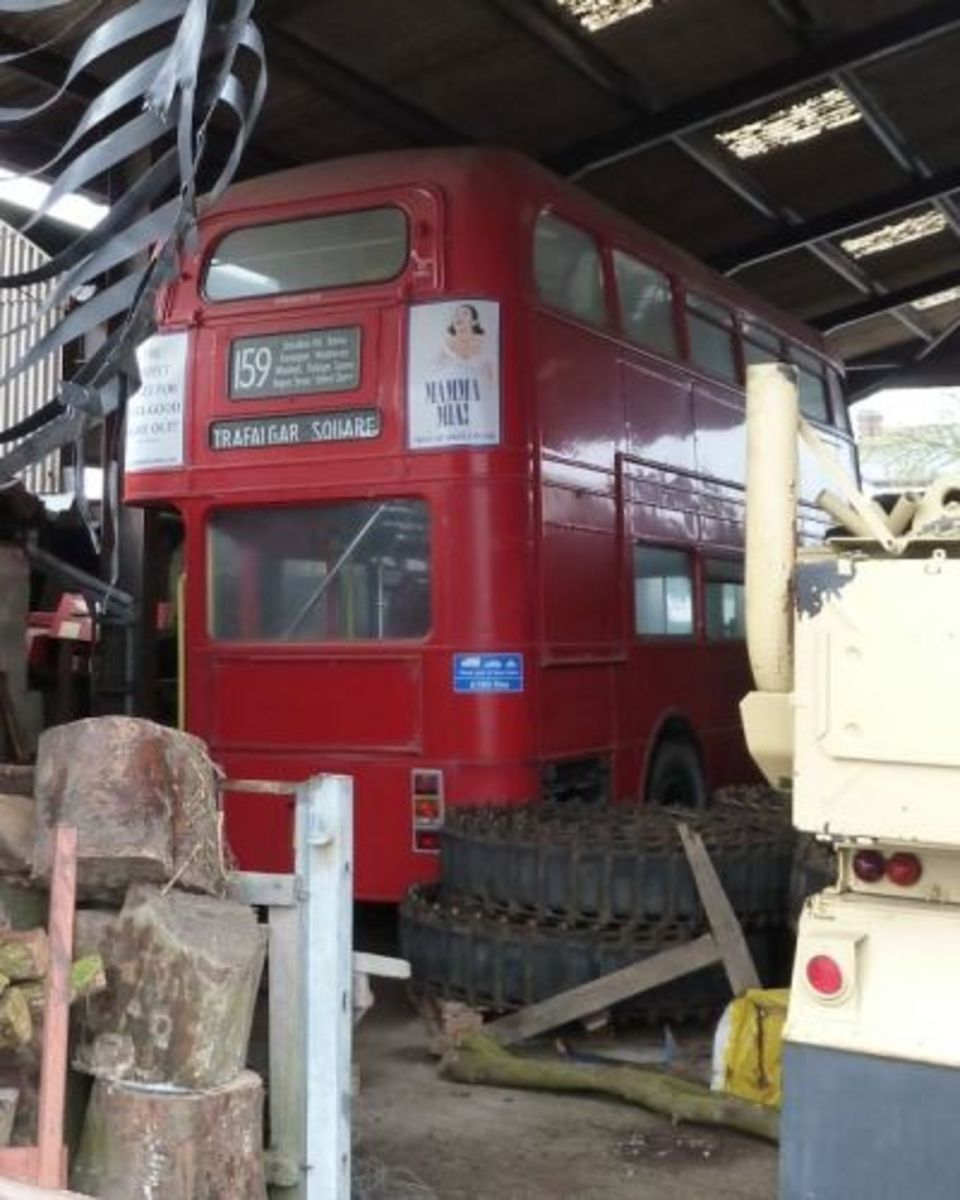 Red Routemaster Bus in a barn