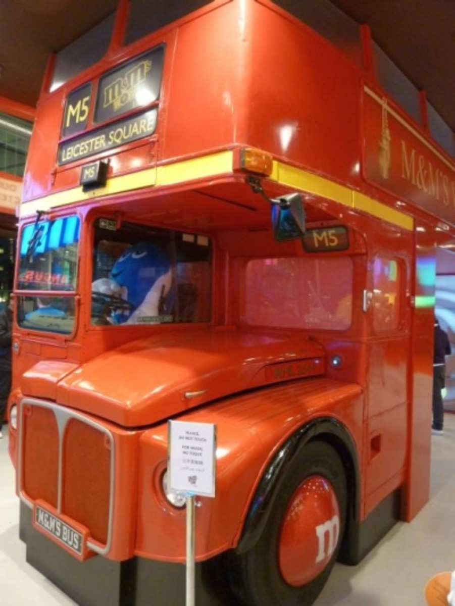 M&M's Routemaster Bus RM2561. This has been gutted to make an entrance into M&M World