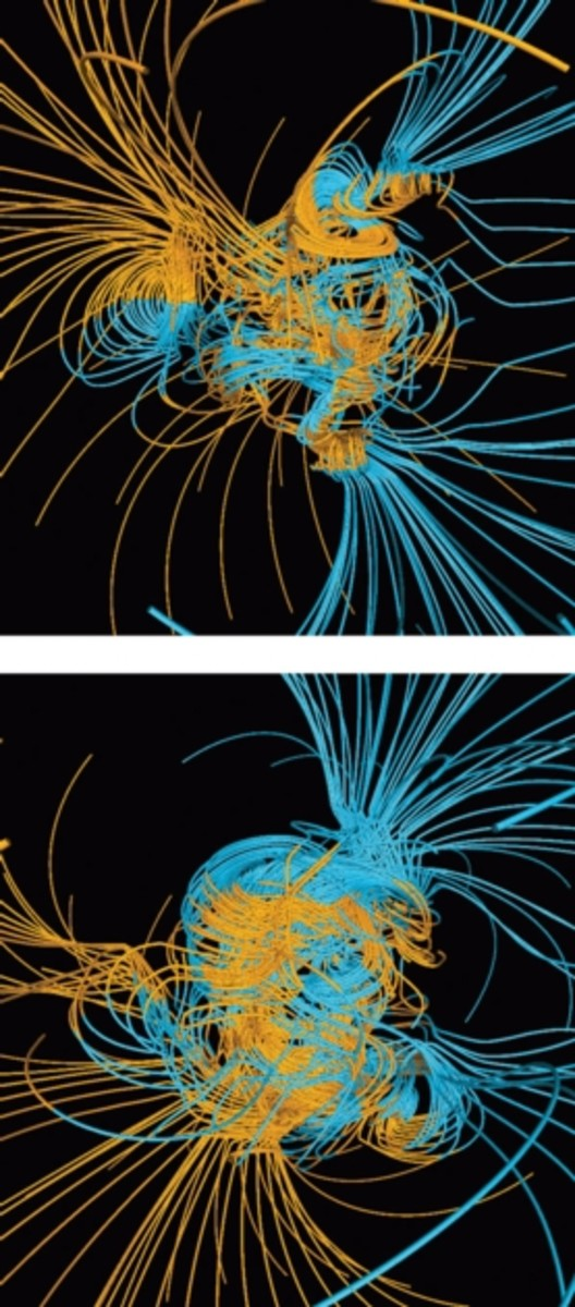 These two graphics show the Earth's magnetic fields in a completely disrupted state.