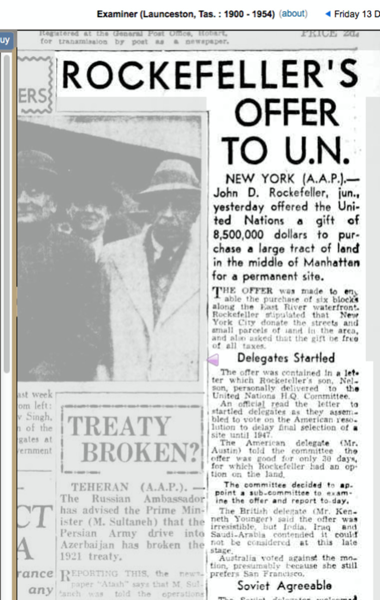 John D. Rockefeller, jun., yesterday offered the Uni ted Nations a gift of 8500,000 dollars to pur chase a large tract of land in the middle of Manhattan for a permanent site.