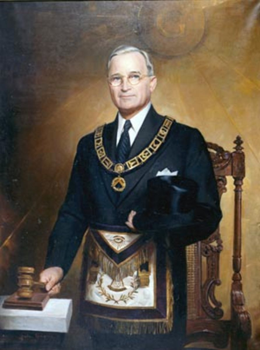Color portrait of President Truman in the regalia of Grand Master of the Grand Lodge of Missouri, a post that he held from 1940 to 1941. This portrait, painted by Greta Kempton, was unveiled in 1949.