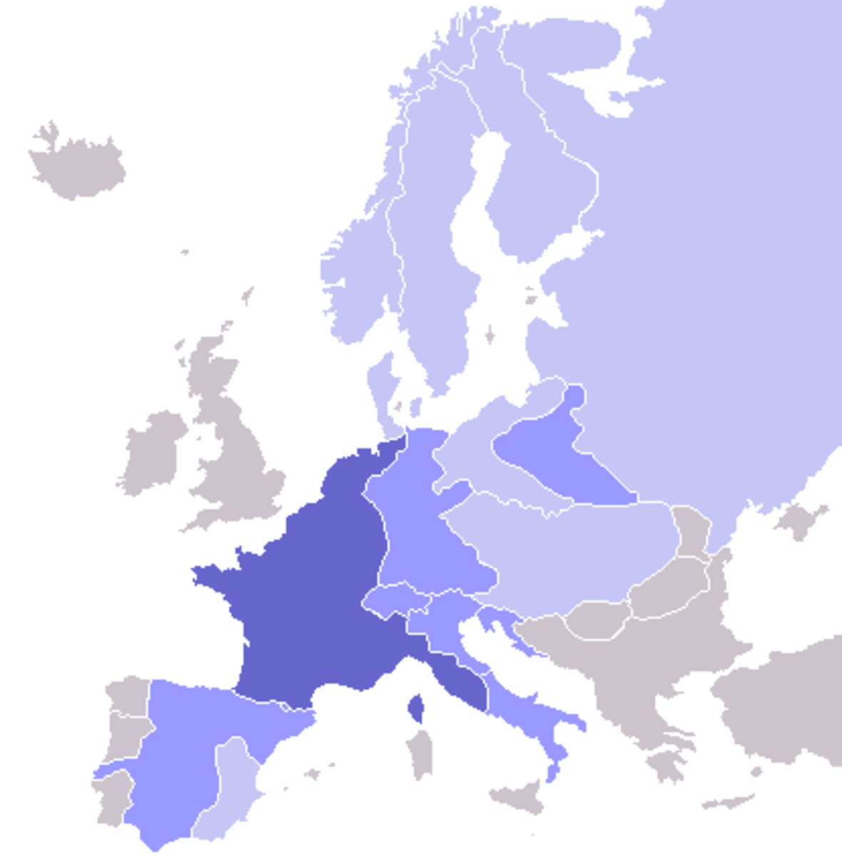 Colors indicate (from dark blue to light blue) : Dark blue: French Empire Light blue: French satellite states and occupied zones Blue-grey: Countries forced by France into applying the Continental System.