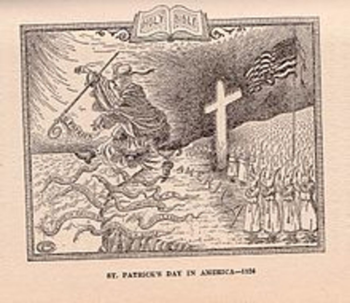 "In this 1926 cartoon the Ku Klux Klan chases the Roman Catholic Church, personified by St. Patrick, from the shores of America. Among the ""snakes"" are various supposed negative attributes of the Church, including superstition, union of church and sta"