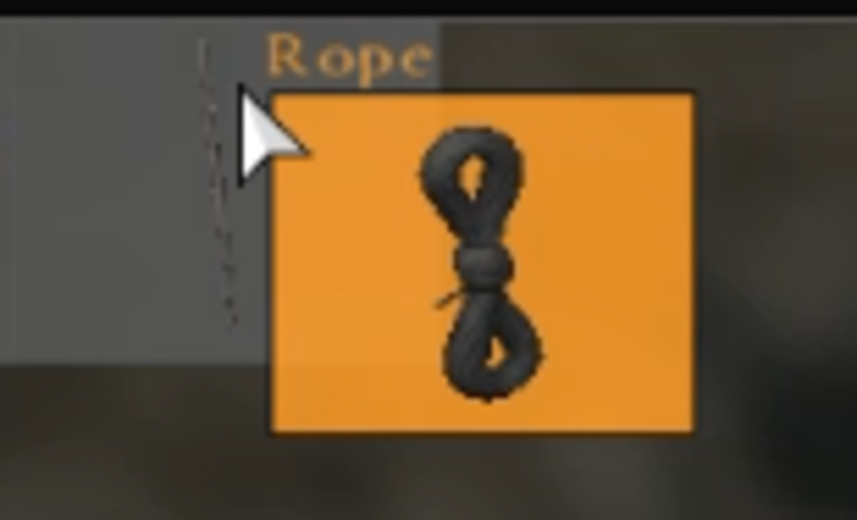 The rope's background will turn orange when you drag it over the Ashwood Stick