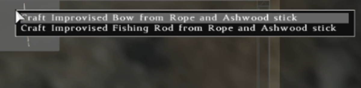 You will be given the option to create the Improvised Bow, or the Fishing Rod.