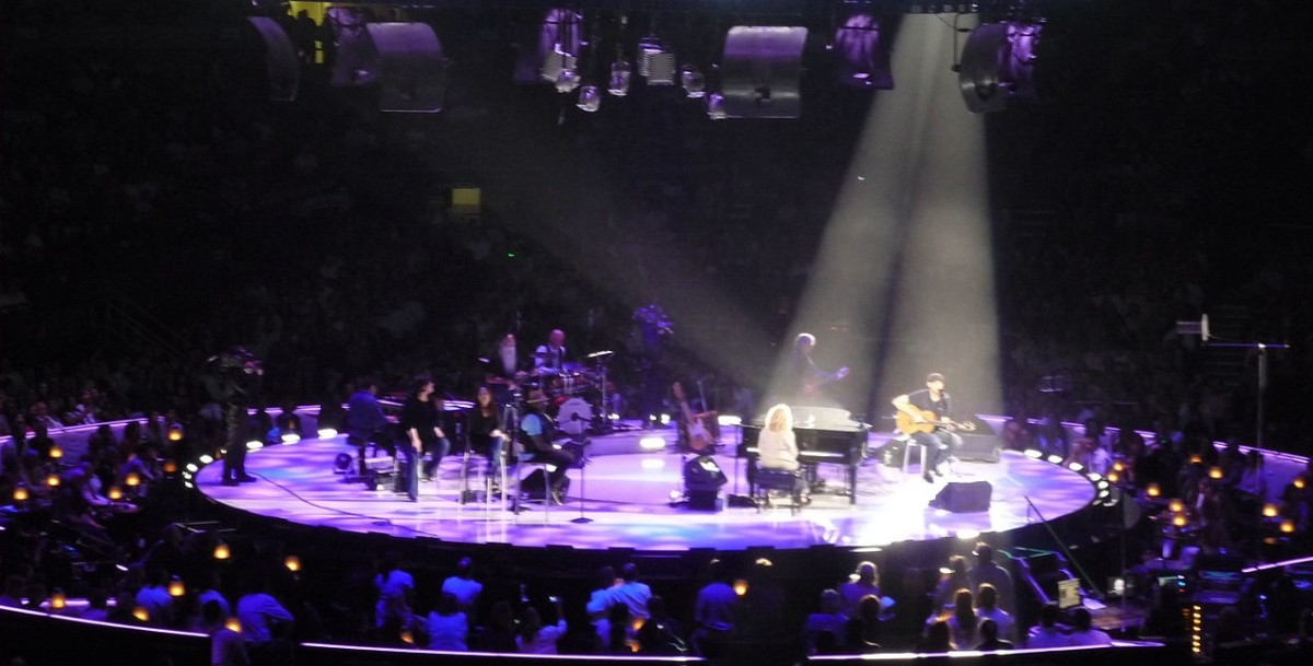 """You've Got a Friend"" being performed by James Taylor and Carole King  at their 2012 Troubadour Reunion Tour stop at Madison Square Garden."