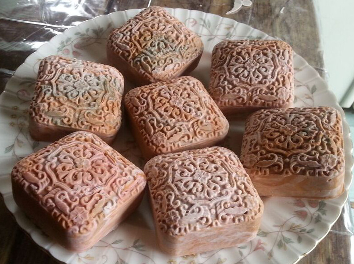 Celtic Rose Soap, colored with rhassoul clay, rose clay, sea clay, French pink clay, and yellow oxide.